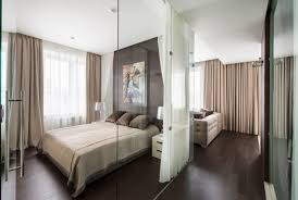 home design glass bedroom wall partition with white curtain