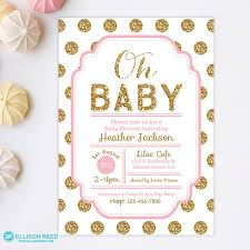 pink and gold baby shower invitations templates ideas all