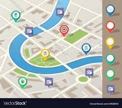 Map Pins City Map With Location Pins Royalty Free Vector Image