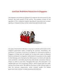 land sale and home possession in singapore pdf pdf archive