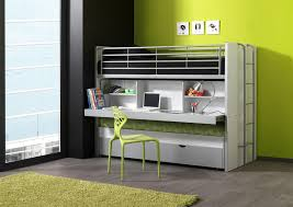 bureau superposé lits enfant superposés combiné avec tiroir lit blanc orange carrie