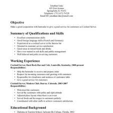cover letter server bartender resume server bartender resume