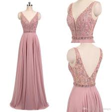 pink dresses new 2018 real blush pink dresses v neck sleeveless a line