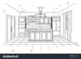 interior sketch modern kitchen island stock vector 293939540