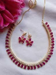diamond ruby necklace sets images American diamond ruby necklace set buy latest collections page jpg