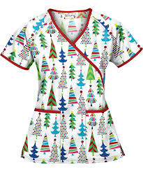 ua oh tree white mock wrap scrub top scrubs