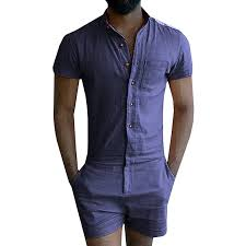 mens blue jumpsuit mens sleeve jumpsuit casual cargo rompers one