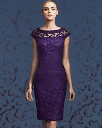 tadashi shoji boatneck lace cocktail dress in purple lyst