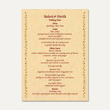 wedding menu cards wedding menu cards indian wedding menu cards
