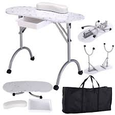 manicure nail table station costway white manicure nail table portable station desk spa beauty