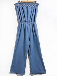 strapless denim jumpsuit s stylish strapless denim jumpsuit blue l zaful