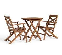 Folding Bistro Table And Chairs Set Hampstead Teak Fixed Bistro Table U0026 Chair Set Honey Pottery Barn