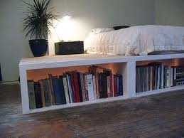 Beds With Bookshelves Look Diy Platform Bed With Storage Apartment Therapy