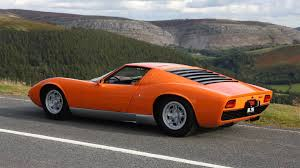 lamborghini miura race car the the orange lamborghini miura in the