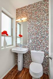 Contemporary Pedestal Sink Contemporary Powder Room With Hardwood Floors U0026 Pedestal Sink In