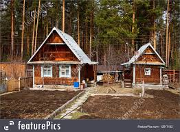 residential architecture old russian wooden cabins stock