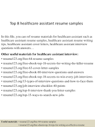 healthcare objective for resume top8healthcareassistantresumesamples 150425021758 conversion gate02 thumbnail 4 jpg cb 1429946326