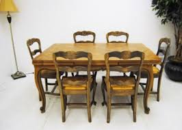 Dining Table And Six Chairs Route 66 Furniture Antique French Provincial Parquetry Draw Leaf