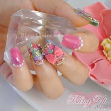 bling up inc soft grunge pastel goth rose 3d nail art with
