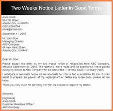 5 good week notice letters notice letter