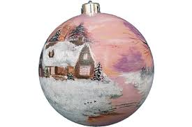 painted ornament large house winter forest