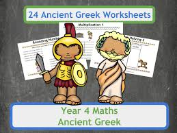 ancient greek themed multiplication and division worksheets for