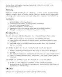 Resume Examples For Customer Service Skills by Professional Security Alarm Installer Templates To Showcase Your