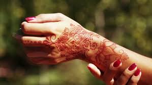 woman hand with mehndi henna tattoo closeup stock footage video