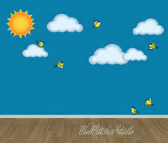 sun clouds birds wall decal reusable fabric decal clouds zoom