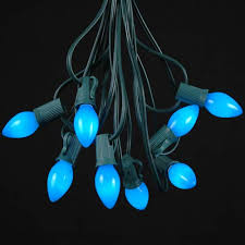green outdoor christmas lights blue ceramic c7 outdoor string light set on green wire novelty