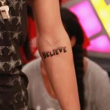 justin bieber u0027s believe tattoo on his arm popstartats