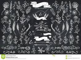 doodle borders ribbons floral decor logo element chalkboard stock