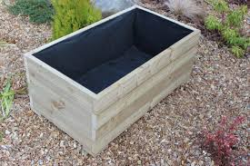metre large extra wide wooden garden planter trough hand made in