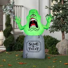 halloween decorations clearance gemmy airblown inflatable 5 u0027 x 4 u0027 slimer ghostbusters halloween