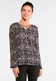 medallion paisley metal ring top plus shirts blouses cato fashions