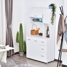 homcom kitchen pantry cupboard wooden storage cabinet organizer shelf white homcom 66 wood kitchen pantry storage cabinet microwave hutch with 4 large cabinets sleek modern design white