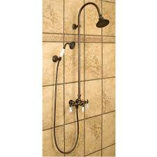 exposed pipe shower with hand shower shower bathroom