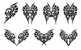 tribal butterflies and hearts tattoos u2014 stock vector lion21