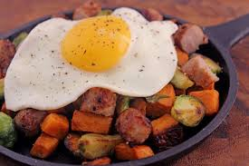 sausage egg skillet with thanksgiving leftovers dinner then