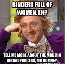 Binder Meme - political memes condescending wonka binder full of women eh