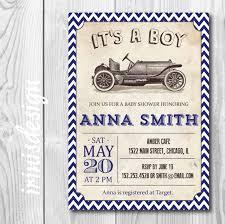 chevron navy blue vintage car baby shower invitation or