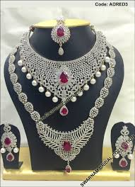 bridal set for rent swarnam rent american diamond wedding jewellery set
