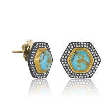 turquoise stud earrings lika behar turquoise stud earrings clarkes jewelers