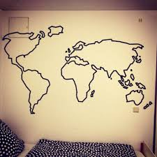 Tete De Lit Masking Tape Awsome Map On Wall With Washi Tape Home Sweet Home Love