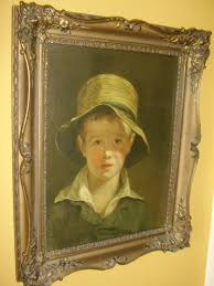 ci print of young boy in straw hat titled the torn hat after the original oil