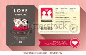 Marriage Invitation Card Design Cartoon Passport Wedding Invitation Card Design Stock Vector