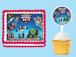 transformers rescue bots 1 edible cake or cupcake topper edible transformers rescue bots edible birthday cake topper cupcake picks