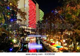 downtown san antonio christmas lights night view of the san antonio riverwalk stock photo 159987939 alamy