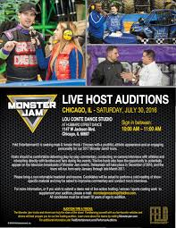 monster truck jam chicago open auditions for monster jam hosts emcees and tv performers in