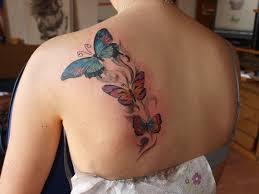 left back shoulder colored butterfly tattoos for